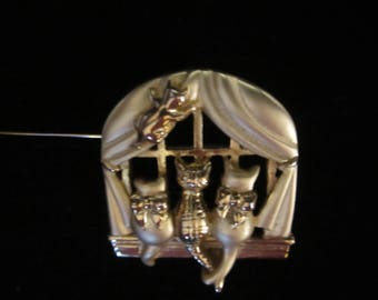Danecraft Goldtone Brooch - Three cats sitting on a window sill. One climbing up on curtain.  Satin finish.  Adorable gift for a cat lover!