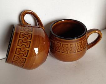 Brown Coffee Mugs, Mid Century Homer Laughlin Brown Coffee Mugs