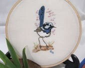 Hand cross stitched Australian hoopart - Superb Fairy Wren. Home/wall decor gift item. Pale fawn evenweave fabric in 13cm wooden hoop.