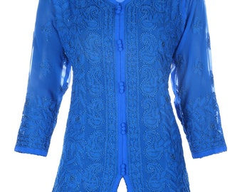 India Indiankala4U Ladies ethnic  Chikankari Hand Embroidery Kurtis/Top/Tunic for summer wear women/ladies/girls blue and Pink color options
