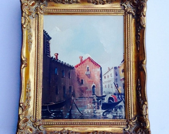 Storewide 25% Off SALE Antonio DeVity (1901- 1993) Venice Canal & Gondola Oil On Canvas Painting Featuring Ornately Crafted Gold Gilded Arti