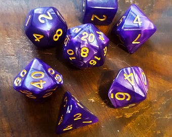 Marbled Purple Polyhedral Dice Set