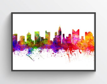 Columbus Ohio Skyline In Color Poster, Home Decor, Gift Idea, USOHCO02P
