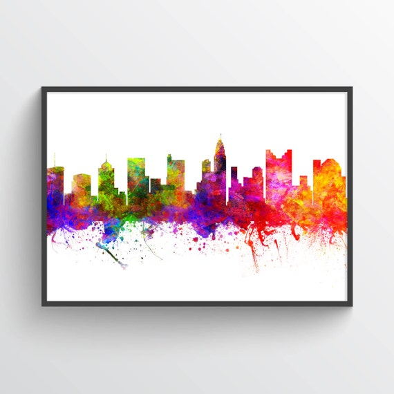Columbus Ohio Skyline In Color Poster Home Decor Gift Idea