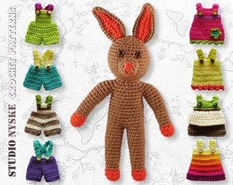 Amigurumi PATTERN doll, small stuffed animal, rabbit, bunny with clothes tutorial