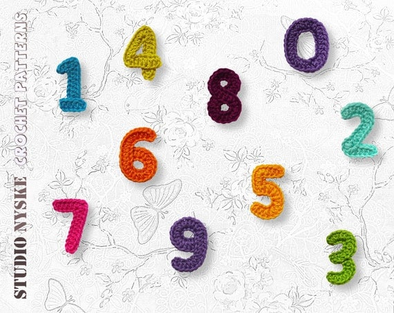 Crochet Pattern Numbers : Crochet numbers pattern small applique bunting garland PDF