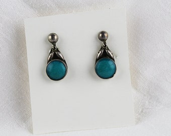 Vintage Mexico 925 Silver and Turquoise Screw Back Earrings, JW240