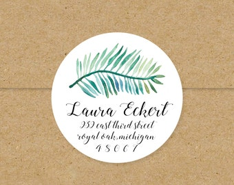 tropical watercolor palm leaf return address labels // custom stickers // palm frond // green watercolor black and white 2 inch round