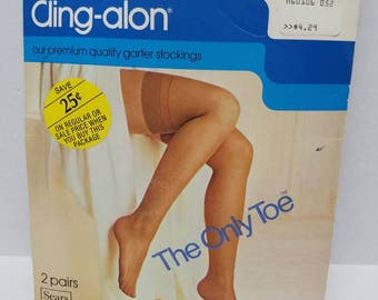 Vintage New Old Sears Stock Cling-alon Black All Nylon  Garter Stockings 2 Pair Shapely  - Vintage Hosiery