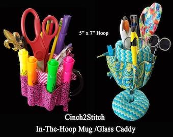 "Mug Caddy Wrap / Wine Glass Caddy - In The Hoop - Machine Embroidery Design (5""x7"" Hoop)"