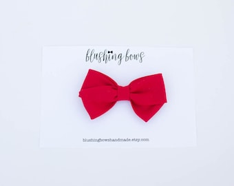 Red Fabric Bow, Hand Tied Fabric Bows, Baby Girl, Toddler, Girls Fabric Bow Headband or Hair Clip