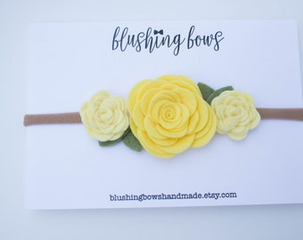 Yellow Felt Flower Headband