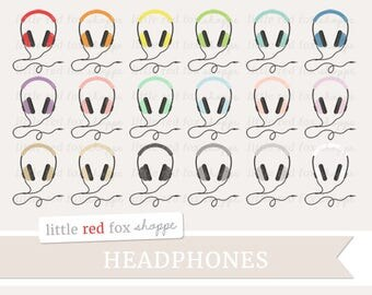 Headphones Clipart, Music Clip Art Radio MP3 Player Fitness Media Song Playlist Gym Party Cute Digital Graphic Design Small Commercial Use