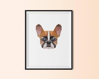 French Bulldog Portrait | French Bulldog Art Print | French Bulldog Custom Print | French Bulldog Geometric Art | French Bulldog | Frenchie