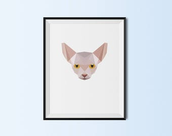 Sphynx Cat | Sphynx Cat Art Print | Sphynx Cat Custom Print | Sphynx Cat Geometric Art | Custom Cat Portrait