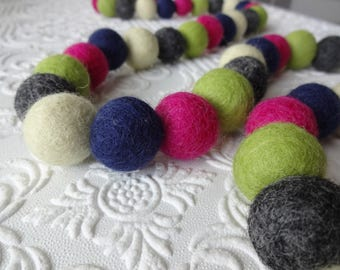 25mm Felt pom poms in Navy, Green, Fuchsia, Grey & ivory. Perfect for party decor, garlands, photo props and crafts, 50 pieces
