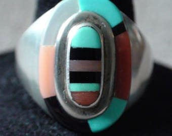 Native American Zuni Sterling Silver Turquoise Coral Spiny Oyster Ring Size 10.5 O. Panteah