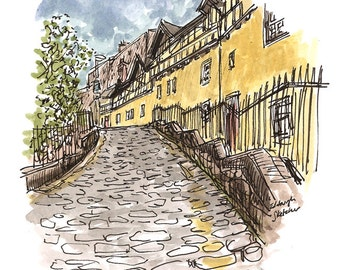 Edinburgh's Dean Village and Hawthornbank Lane. Print from an original watercolour sketch drawn on location in Edinburgh, Scotland.