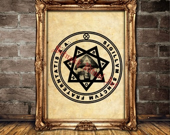 Babalon star print, Crowley art, Occult poster #465