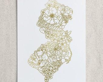 Botanical New Jersey Foil Print