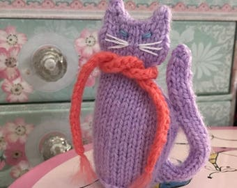 Ready To Ship, Hand Knitted Cat, Little Purple Cat, Cat Lovers, Stuffed Animal