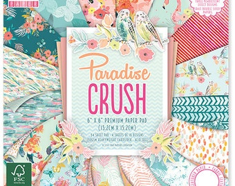 Scrapbook Paper - First Editon Paradise Crush 6x6 Paper Pad - 64 sheets Embossed Cardstock - Flamingo Tropical Florals - Half Double Sided