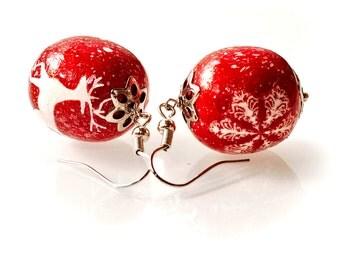 Christmas gift-Christmas jewellery -Christmas earrings-Christmas decorations- decoupage-Winter earrings-Woomens fashion-New year earrings