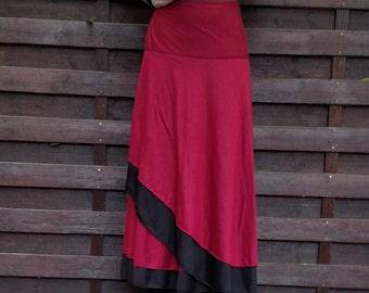 Long Wrap Skirt Jersey Reversible Skirt DArk Red & Black Skirt Hippie Long Skirt Wrap 2 Color Skirt Fairy Maxi Wrap Summer Skirt