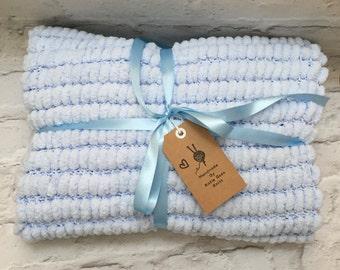 Pom pom baby blanket, hand knit blanket, blue blanket, baby afghan, stroller blanket, hand knitted gift, new baby gift, nursery bedding