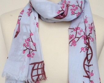 Cherry blossom scarf - cherry blossom wrap - cherry blossom shawl - spring summer scarf - in 100% cotton