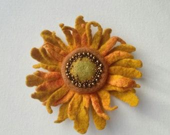 Felted Saffron Sunflower Brooch, Felted Flower Brooch, Wool Brooch, Sunflower Brooch