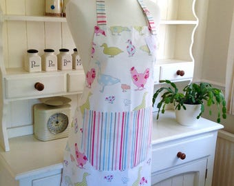 Pastel Ducks, Geese & Hens Ladies Apron, Full Apron, Adjustable Apron, Women's Apron