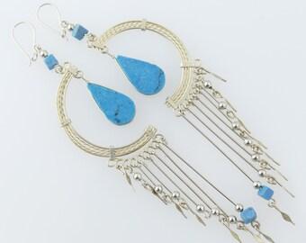Long Gypsy Earrings Boho Earrings Bohemian Earrings Tribal Earrings Hippie Earrings Ethnic Earrings Boho Jewelry Gypsy Jewelry Turquoise