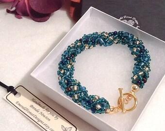Summer Sea Teal & Gold Beaded Bracelet Handmade by Emerald Forest Designs
