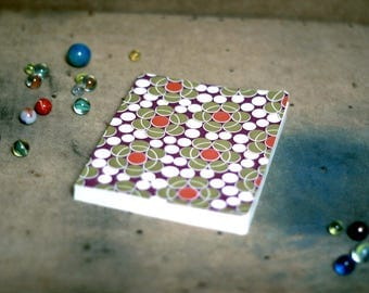 Vintage Pine Cone squared notebook, geometric 70 years on the inner cover