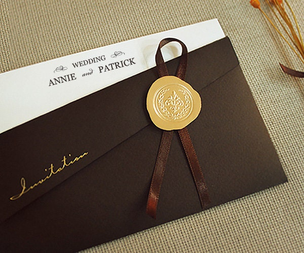 Brown Pocket Wedding Invitations Elegant Wedding