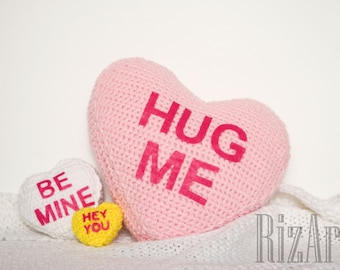 Candy Conversation Heart Crochet Pillows | Customize-able Heart Candy Props | Valentine's Day Props
