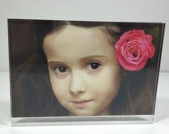 Fixture Displays® 4x6 Clear Acrylic Plexiglass Photo Frame Logo Block 14697