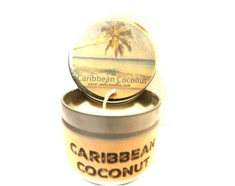 Caribbean Coconut - 4 ounce soy tin candle take it anywhere! Approximate Burn Time 30 Hours