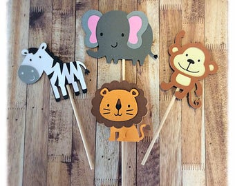 12 Jungle themed Cupcake toppers - birthday party - Cupcake topper - party decorations- Jungle animals - safari - Jungle Birthday party