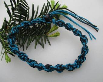 Turquoise and Black, Hemp Necklace, Hemp Bracelet, Hemp Anklet, Hemp, Unisex, Turquoise, Black, Mens Hemp Necklace, Hemp Choker