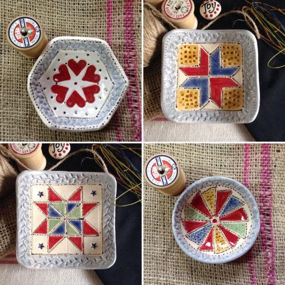Handmade Tiny Patch Dish, Trinket Dish, Hexie Dish, Dresden plate dish, star dish, hearts dish
