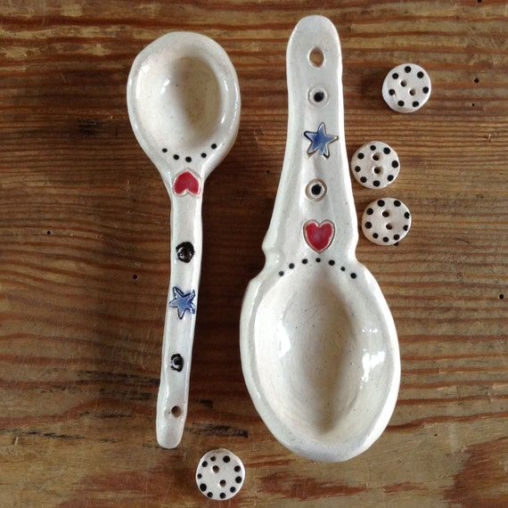Small Handmade Ceramic Spoons, rustic, decorative spoons, kitchen accessories