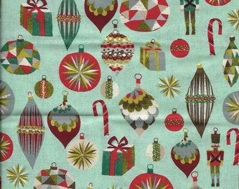 New Christmas Ornaments and Presents on Blue 100% cotton fabric by the Fat Quarter