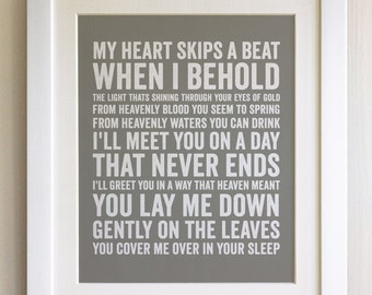 FRAMED Lyrics Print - Oasis, Idler's Dream - 20 Colours options, Black/White Frame, Wedding, Anniversary, Valentines, Fab Picture Gift