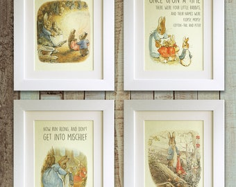 SET OF 4 Peter Rabbit Quote Prints, *UNFRAMED* Birth, Christening, Nursery, Birthday, Picture Gift, Beatrix Potter