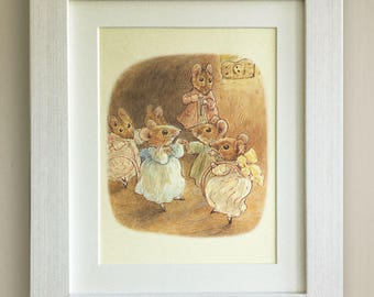 "BEATRIX POTTER Print, New Baby/Birth, Nursery Picture Gift, *UNFRAMED* Lovely Birth or Christening Gift, 10""x8"", The Tale of Two Bad Mice"
