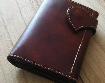 "Handmade Italian leather Trifold wallet ""Smokie"""