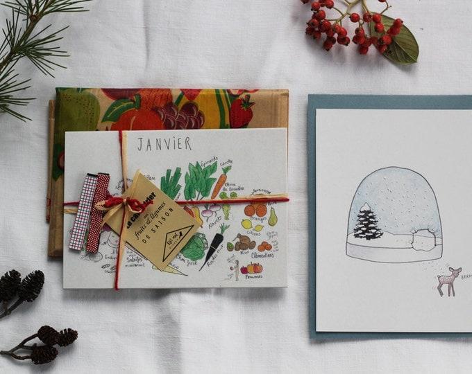 """The """"calendar"""" Christmas kit: timing of fruit and vegetable season + 4 magnets + Christmas card """"snow ball"""" & Fawn"""