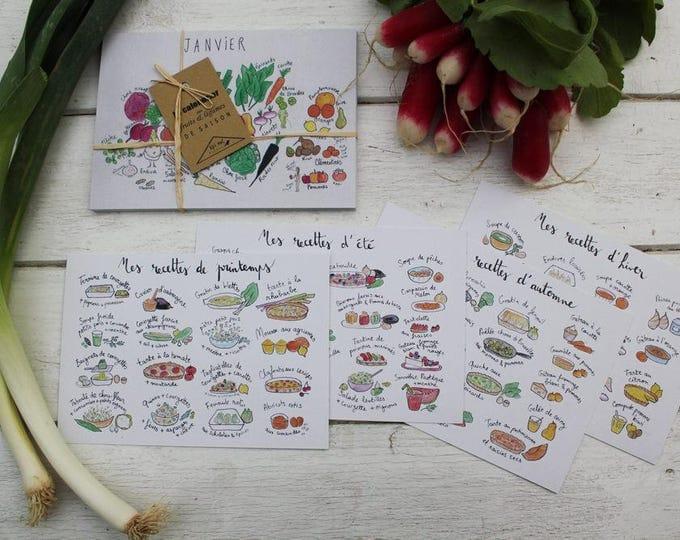 """Eat season"" Kit: calendar fruits & vegetables + cards season recipe ideas, ink + watercolor illustration + 4 kitchen magnets"